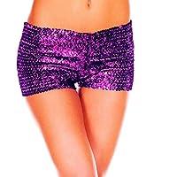 ZWGYQ Pantalones Cortos Atractivos De La Lentejuela Pantalones Picantes del Funcionamiento De La Etapa Pantalones Cortos del Traje Opcionales (Purple)