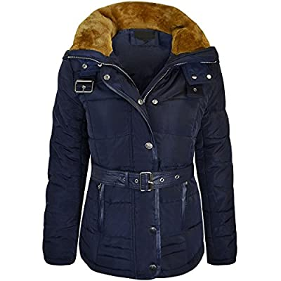 Fashion Thirsty Womens Ladies Quilted Winter Coat Puffer Fur Collar Hood Parka Jacket Size New