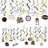 SUNBEAUTY Silvester Deko 2020 Neujahr Happy New Year Folie Spiralen Dekoration Deckenhänger