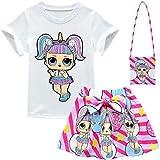 ALAMing - Maglietta a Maniche Corte per Bambine, LOL Surprise Style01 5-6 Anni