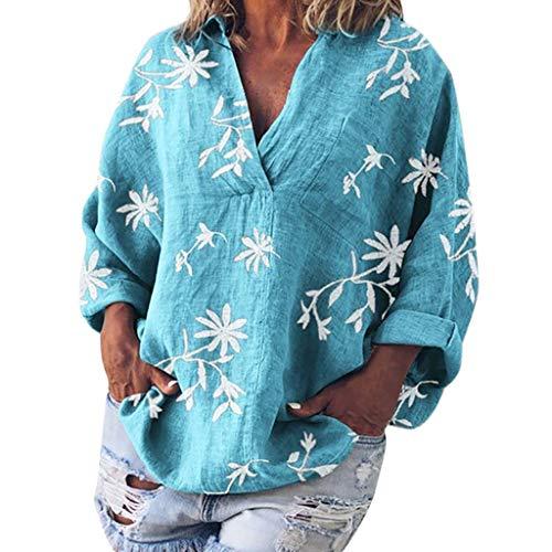 Pullover Sweatshirt für Damen,Kobay 2019 Halloween Heiligabend Weihnachten Frauen V Ausschnitt Blumendruck Baumwolle und Leinen Langarm Shirt Blusen T Shirt Tops Pullover Sleeve Scoop Neck Bow