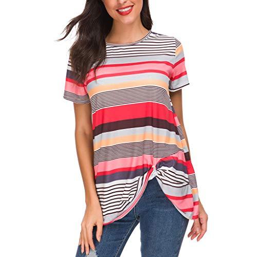 Ears Frauen Casual T-Shirt Sommer Tunika Mode Hemd Oversize Bluse Sweatshirts Mädchen Tops Bodycon Atmungsaktives T-Shirt Casual Tee Unregelmäßige Streifen Oansatz Kurzarm Bluse Tops