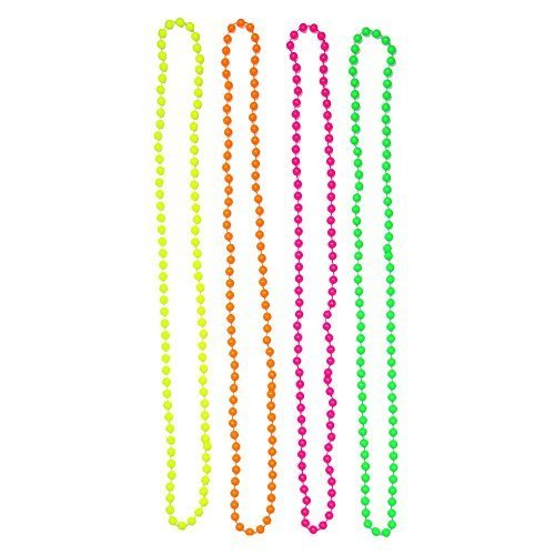 Set of 4 Multicolour Neon Fluorescent 80's Bead Necklaces