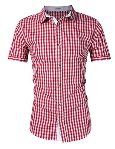 KoJooin Trachten Herren Hemd Trachtenhemd Langarmhemd Freizeithemd Baumwolle - für Oktoberfest, Business, Freizeit (S, Rot1)