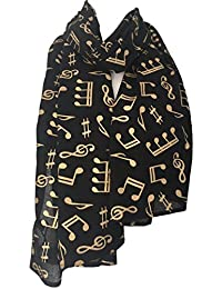 Purple Possum Musical Notes Scarf, black with Gold Notes Wrap, Ladies Sparkly Cotton Fair Trade Shawl, Music Note