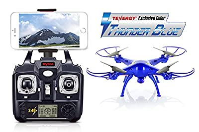 Syma X5SW Explorers2 2.4G 4CH 6-Axis Gyro RC Headless Quadcopter with 2MP HD Wifi Camera (FPV) - Tenergy Thunder Blue Deluxe Package with additional accessories