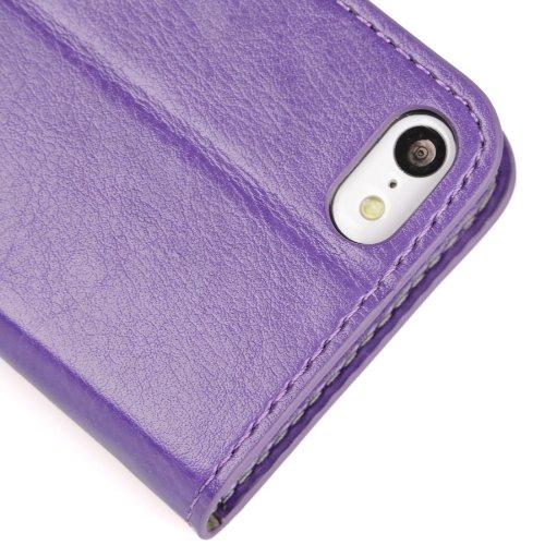 MADCASE Apple iPhone 5C Premium Leder/Harthülle/Gel/Silikon/Strapazierfähig/Durchsichtig/Klar/Portemonnaie/Kreditkartenhalter Flip Case Bumper Ständer Hülle mit Display Schutz und Eingabestift - Weich Weiche - Hellrosa