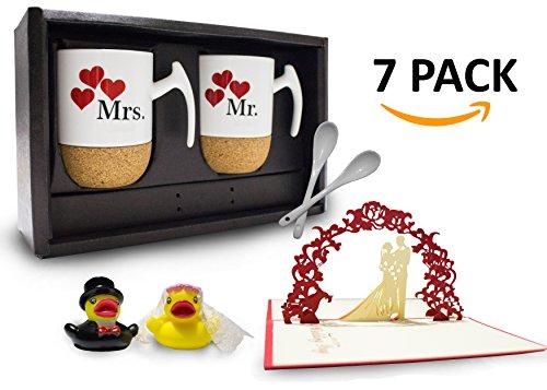 Mr & Mrs - Kaffeetassen/Kaffeebecher aus Kork Geschenkset + Grußkarte + Badeenten (Hochzeit)