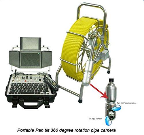 Gowe 60m/61m cavo in vetroresina Riggid Push rod pan Tilt Fogna ispezione fotocamera con HD DVR e 20,3cm schermo LCD - Hd Vetroresina