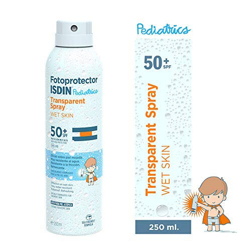 ISDIN Fotoprotector Transparent Spray WET SKIN Pediatrics SPF 50+ | Especial Piel Niños | Eficaz Piel Mojada | 250ml