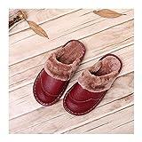 GAOHUI Slippers Männer Frauen Thermisch Skid Home Hausschuhe Winter Innen- Mode Casual Schuhe, Oxblood Red, 29 (43-44)