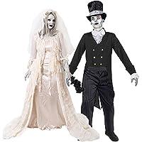 Déguisement accessoires pour couple adulte avec pour la Femme une robe de jeune mariée au cœur brisé et pour l'Homme un costume de jeune marié fantomatique. Idéal pour les fêtes d'Halloween ou les enterrements de vie de garçon et de jeune fille.