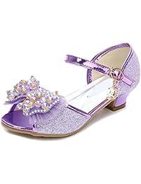 L YC Chaussures de Mariage pour Filles Chaussures Comfort Girl Glitter Summer Fall Party & Robe de Soirée Walking Comfort Girl Shoes, Purple, 35