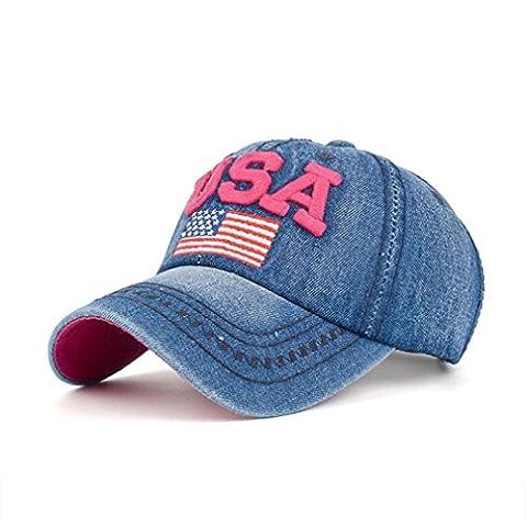 Casquette,Kolylong 2017 Femmes Hommes USA Flag Denim Rhinestone Baseball Cap Snapback Hip Hop Flat Sun Hat pour vacances d'été (B)