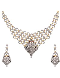 Zeneme American Diamond Peacock Design Gold Plated Jewellery Set With Earring