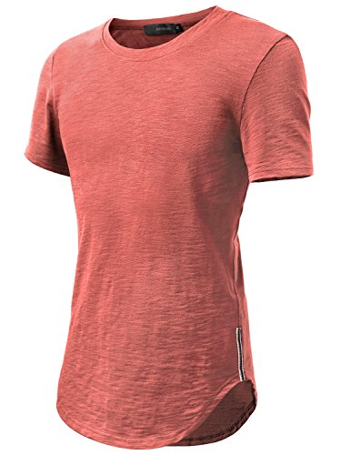 HEMOON Herren O-Neck T-Shirt Shaped Raglan Slim Rundhals Dunkelrot S (Shirt Stricken)