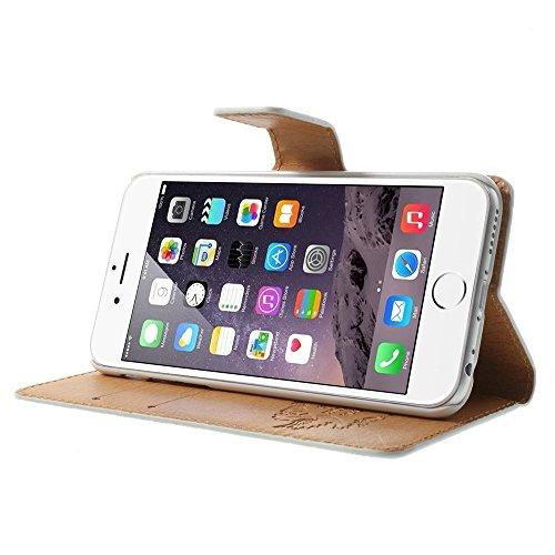 iPhone 6 6S Hülle Klapphülle von NICA, Slim Flip-Case Kunst-Leder Vegan, Phone Etui Schutzhülle, Dünne Vorne Hinten Handytasche Wallet Bumper für Apple iPhone 6S 6 - Pretty Roses Edition Roses Edition Schwarz
