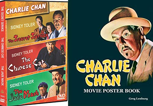 Solved Mysteries and Crimes Charlie Chan Movies Sidney Toler stars Secret Service / Chinese Cat / Jade Mask + Poster Art Book 3 Film Detective Sleuth set