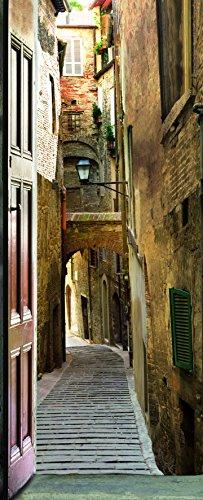 Plage 141002 adesivo per pareti e porte, formato grande, trompe l'oeil porta-vecchio villaggio, 204 x 83 cm