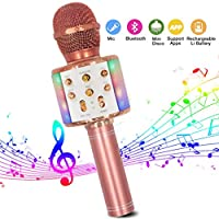 Wireless Karaoke Microphone, Bluetooth Karaoke Microphone 4-in-1 Handheld Portable Karaoke Player with Dancing LED Lights Compatible with Android & iOS Devices for Home KTV/Party/Kids Singing
