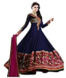 Livaaz Womens Georgette Anarkali Unstitched Dress Material (Sf100895_Blue)