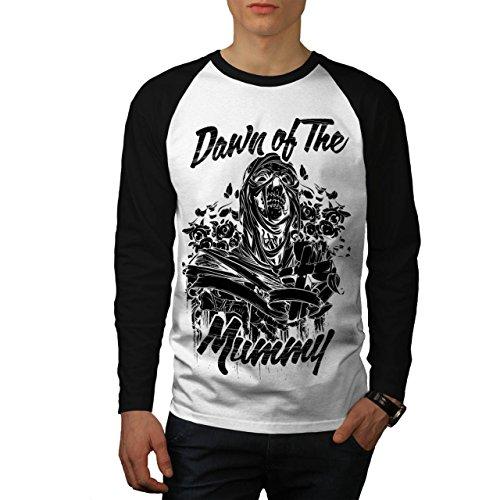 Das Schlecht Mumie Dämmerung Horror Herren NEU Weiß (Schwarz Ärmel) S Baseball lange Ärmel T-Shirt | (Herren Kumpel Schwarz Stiefel)