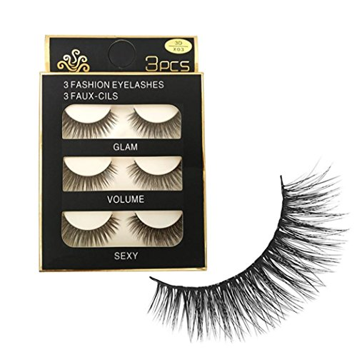 feiXIANG 10 pairs handarbeit schwarze lange, Ladies dicke make - up - party (3 Paare- X03) -
