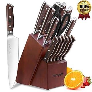 homgeek Couteau de Cuisines, 15 Pièces Set Couteaux Cuisine, Ensemble de Couteaux en Acier Inoxydable Allemand, Bloc à Couteaux avec aiguiseur et Ciseaux
