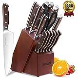 homgeek Couteaux de Cuisine, Ensemble de Couteaux Professionnels avec Bloc en Bois, German Stainless Steel Lot de Couteaux avec Support en Bois, 15 Pièces