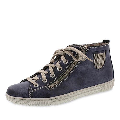 Rieker Damenschuhe L9402 Damen Kurzstiefel, Boots, High-Top Sneaker, Lose Einlage, Deko-Reißverschluss außen Blau (Jeans/Lightgold / 14), EU 37