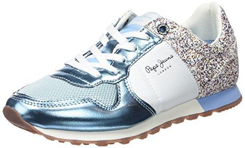 Pepe Jeans London - Scarpe da Ginnastica Basse Donna, Blu (Soho Blue), 36 (EU)