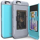 Funda iPhone 6S Plus [TORU CX Pro] Estuche tarjetero práctico original de calidad premium y discreto, carcasa guarda tarjeta de protección rígida antigolpes con espejo para iPhone 6S plus y iPhone 6 plus - Turquesa