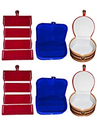 Afrose Combo 2 Pc Red Earring Folder 2 Blue Ear Ring Box And 2 Pc Bangle Box Jewelry Vanity Case - B077JWJK6N
