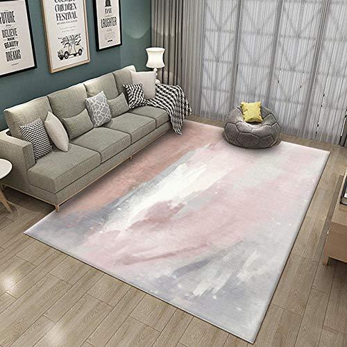Pgron Alfombra Salón Impresión Rosa Abstracta Minimalista Alfombra para Decoración Interior,160×230cm...