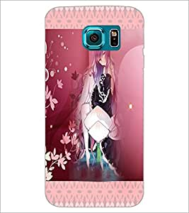 PrintDhaba Cute Animated Girl D-3582 Back Case Cover for SAMSUNG GALAXY S6 EDGE (Multi-Coloured)