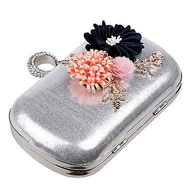Woman Fashion Blumen Abendessen Abend Tasche Silver