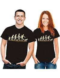 Fun T-Shirt Evolution Hundehalter schwarz beige
