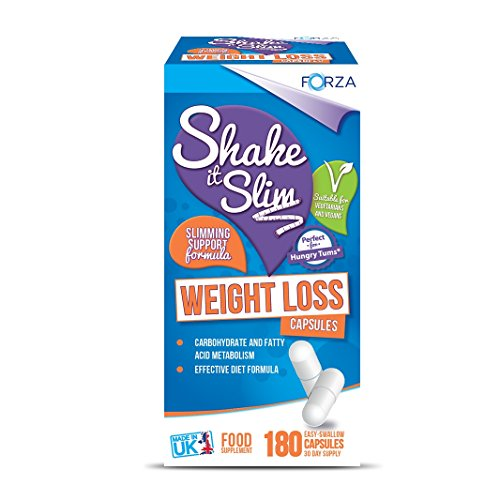 FORZA Shake It Slim Weight Loss Glucomannan Appetite Suppressant Supplement Capsules, 180-Count