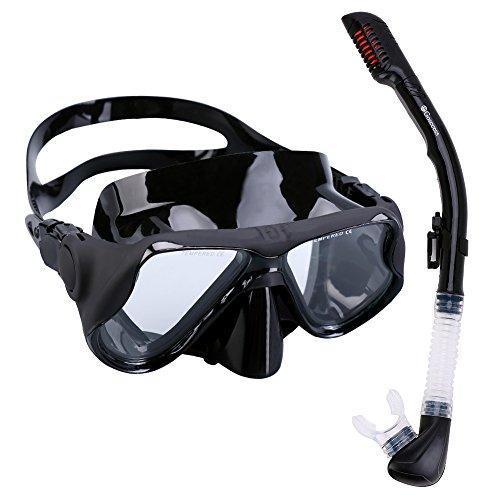 Gosccess Premium Schnorchelset Erwachsene Taucherbrille mit Schnorchel gehärtete Anti-Beschlag Gläser Taucherbrille Tauchmaske und trockenem Schnorchel Set(schwarz)