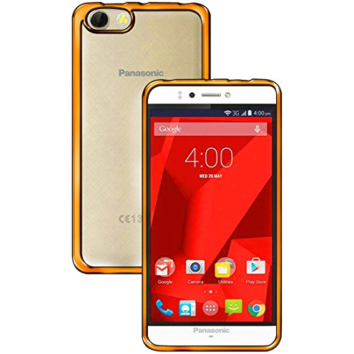 Casotec Electroplated Edge Ultra Thin Clear TPU Back Case Cover for Panasonic P55 Novo - Gold