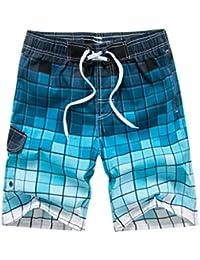 b2e91b30a27de Men Plaid Beach Shorts Quick Dry with Pockets Swim Trunks Summer Fashion Board  Shorts Swimwear