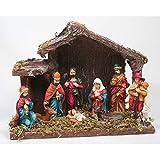 Kamaca KRIPPE/WEIHNACHTSKRIPPE mit 9 Figuren handveredelt mit Moos verziert Winter Weihnachten (9 Figuren 20 x 16 cm)