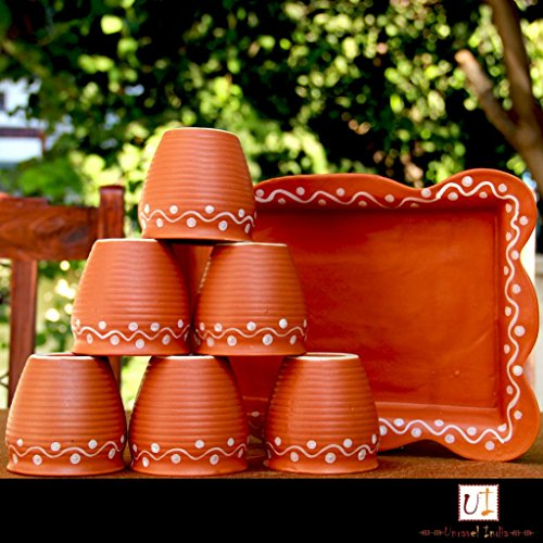 Unravel India Earthen Ceramic Kulhad with Ceramic Tray(Set of 6) by Unravel India -