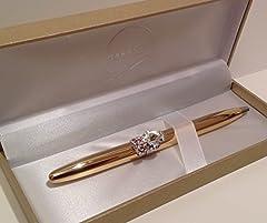 Idea Regalo - maranda-ti colore oro gufo con occhi rosa cristallo anello-Penna a sfera, 13cms, in confezione regalo