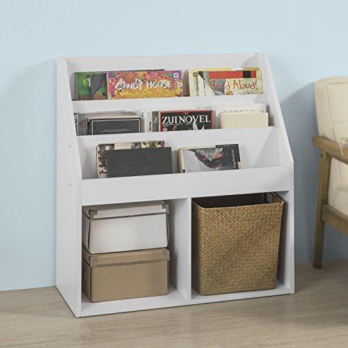 SoBuy KMB01-W Bücherregal für Kinder Zeitungsständer Aufbewahrungsregal mit 3 Ablagefächern und 2 offenen Fächern, BHT ca.: 73x80x30cm 'w Bücherregal
