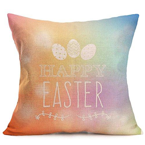JMETRIC_Kissenbezug Mehrfarbig Freizeit Kissenbezug Schutzbezüge Ostern Kaninchen Ei Drucken Kissenbezug Umweltschutz(G)