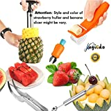 Magic Fruit Slicer Set von 5, Edelstahl Fruit Peeler Set - Ananas Corer, Wassermelonen Slicer, Banana Cutter, Tranchiermesser & Melone Baller Scoop und Strawberry Huller