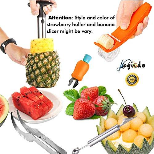 Magicdo Set di affettatrici di frutta da 5 pezzi, Set di pelapatate - Caraffa per ananas, Affettatrice per anguria, Tagliapizza a banana, Coltello per carving e Melon Baller Scoop e Strawberry Huller
