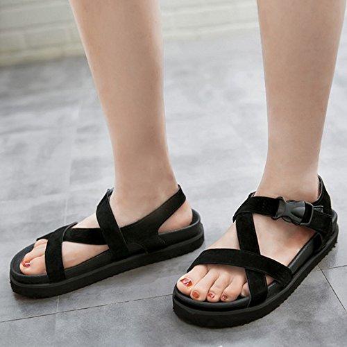 TAOFFEN Femmes Confortable Bout Ouvert Sandales Cross Strap Plates Ete Chaussures Noir