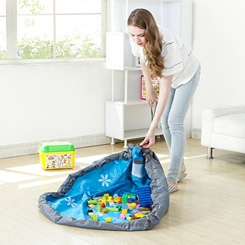 YeahiBaby Estera del Juego Juguetes Almacenamiento Bolsa para Bebé Portátil Picnic Manta (Azul)